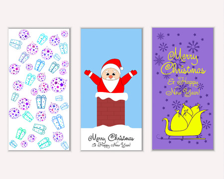 Vector illustration of Merry Christmas and Happy New Year greeting cards