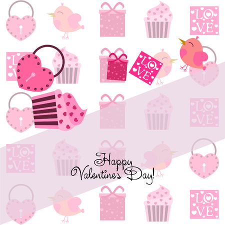 A set of celebratory elements for St. Valentine's Day. flat vector illustration isolated on white background