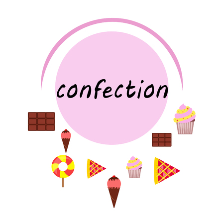 Chocolate, candy, cake, pie, ice cream, sweet, abstract vector illustration.