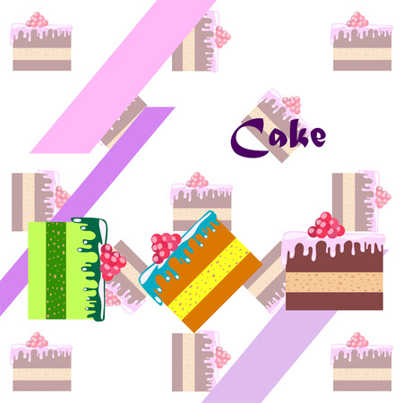 Colorful sweet cakes slices pieces, vector illustration.