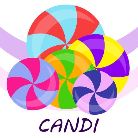 bonbons, bonbons sucrés, durs, sucette, résumé, illustration vectorielle. Vecteurs