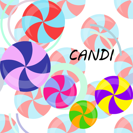 candy, sweet, hard candy, lollipop, abstract, vector illustration. Banque d'images - 124487081