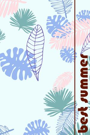Bladeren van tropische planten. Kleur zomer ansichtkaart, zomervakantie. Vectorachtergrond.