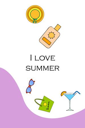 Beach vacation. Sunglasses, hat, beach bag, cocktail, sunscreen. Vector background.