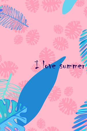 Leaves of tropical plants. Color summer postcard, summer vacation. Vector background. Ilustração Vetorial
