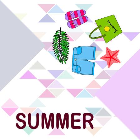 Wakacje letnie. Torba plażowa, kapcie, spodenki, rozgwiazda, prześcieradło tropikalne. Tło wektor