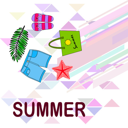 Summer vacation. Beach bag, slippers, shorts, starfish, tropical sheet. Vector background Stock Vector - 121402815