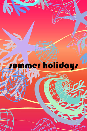 Underwater background. Cute colorful seashells and starfish. Summer design. Vector background Ilustrace