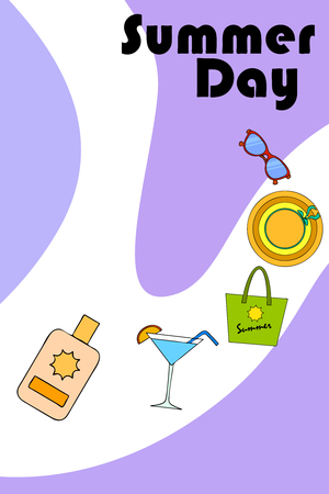 Beach vacation. Sunglasses, hat, beach bag, cocktail, sunscreen. Vector background. Banque d'images - 121403376