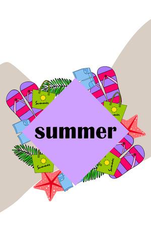 Summer vacation. Beach bag, slippers, shorts, starfish, tropical sheet. Vector background Stock Vector - 121402885