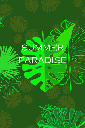 Leaves of tropical plants. Color summer postcard, summer vacation. Vector background.