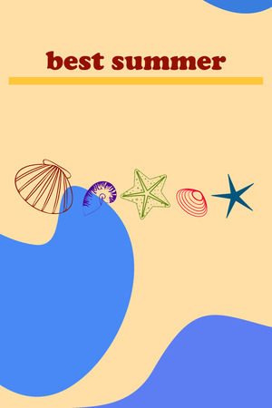 Underwater background. Cute colorful seashells and starfish. Summer design. Vector background Ilustração