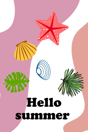 Summer rest. Starfish, seashell, leaves of tropical plants. Vector background