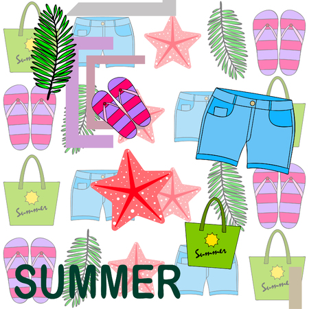 Summer vacation. Beach bag, slippers, shorts, starfish, tropical sheet. Vector background