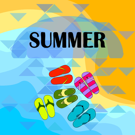 Vector set with cute and colorful summer slippers. Beach vacation. Vector background. Stock Illustratie