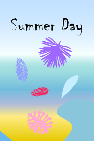 The leaves are tropical plants. Summer rest. Tropical design. Vector background.