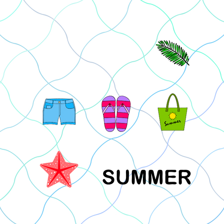 Summer vacation. Beach bag, slippers, shorts, starfish, tropical sheet. Vector background Stock Vector - 121115350