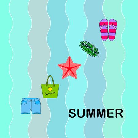 Summer vacation. Beach bag, slippers, shorts, starfish, tropical sheet. Vector background Stock Vector - 121115362