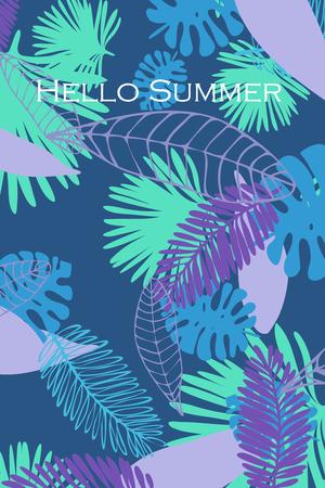 Foglie di piante tropicali. Cartolina estiva a colori, vacanze estive. Sfondo vettoriale.