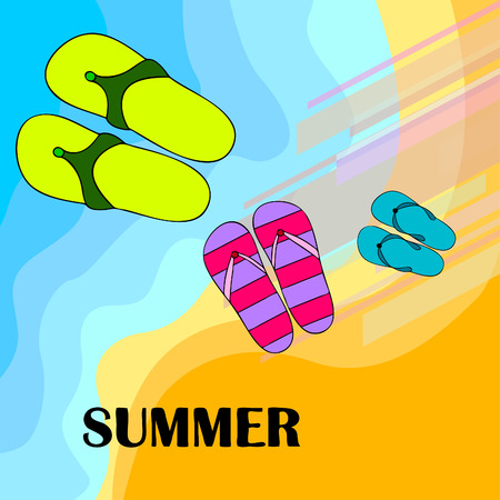 Vector set with cute and colorful summer slippers. Beach vacation. Vector background. 矢量图像