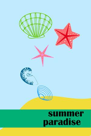 Underwater background. Cute colorful seashells and starfish. Summer design. Vector background Stock Illustratie