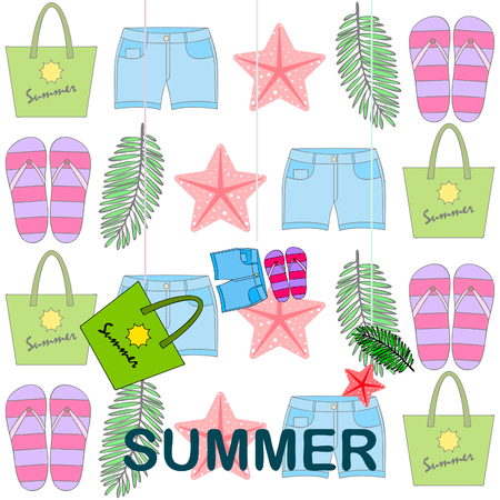 Summer vacation. Beach bag, slippers, shorts, starfish, tropical sheet. Vector background Stock Vector - 121115884