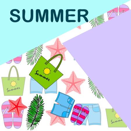 Summer vacation. Beach bag, slippers, shorts, starfish, tropical sheet. Vector background Stock Vector - 121115885