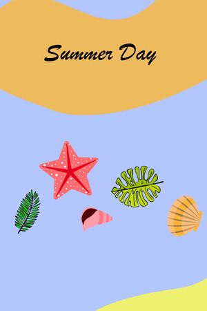 Summer rest. Starfish, seashell, leaves of tropical plants. Vector background Banque d'images - 121116019