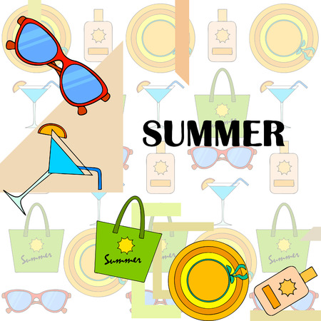 Beach vacation. Sunglasses, hat, beach bag, cocktail, sunscreen. Vector background.