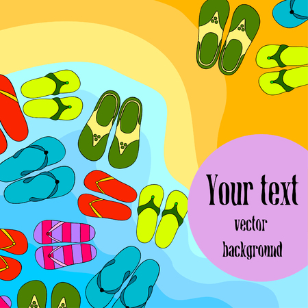 Vector set with cute and colorful summer slippers. Beach vacation. Vector background. 向量圖像