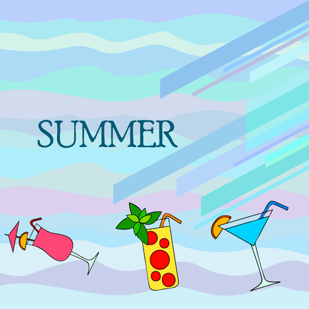 Summer card with cocktails. Beach holiday.