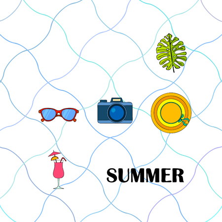 Summer postcard design. Sunglasses, camera, cocktail, leaf of a tropical plant, hat. Ilustrace