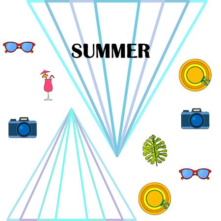 Summer postcard design. Sunglasses, camera, cocktail, leaf of a tropical plant, hat. Stock Illustratie