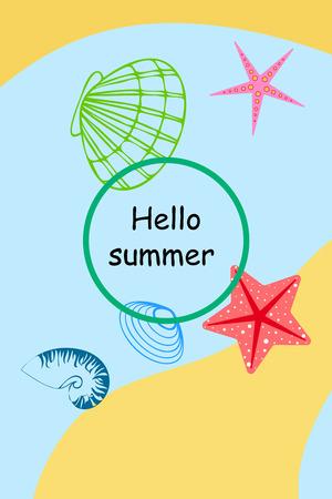 Underwater background. Colorful seashells and starfish. Summer design.