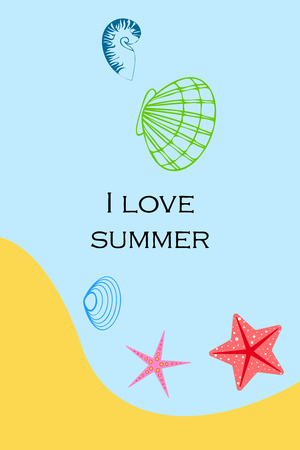 Underwater background. Colorful seashells and starfish. Summer design.
