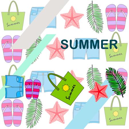 Summer vacation. Beach bag, slippers, shorts, starfish, tropical sheet. Stock Vector - 121167602