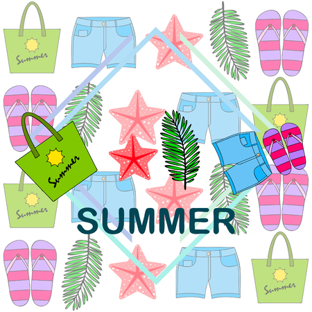 Summer vacation. Beach bag, slippers, shorts, starfish, tropical sheet. Ilustracja