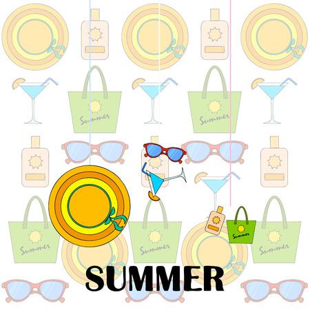 Beach vacation. Sunglasses, hat, beach bag, cocktail, sunscreen.