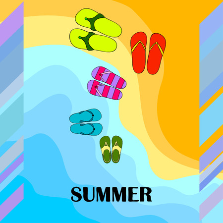 Vector set with cute and colorful summer slippers. Beach vacation. Vector background. Ilustração
