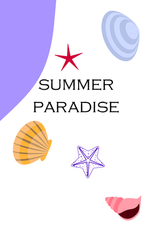 Underwater background. Cute colorful seashells and starfish. Summer design. Vector background Vectores