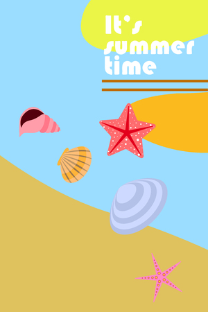 Underwater background. Cute colorful seashells and starfish. Summer design. Vector background Illustration