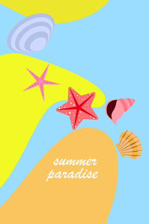 Underwater background. Cute colorful seashells and starfish. Summer design. Vector background Stock Vector - 121429755