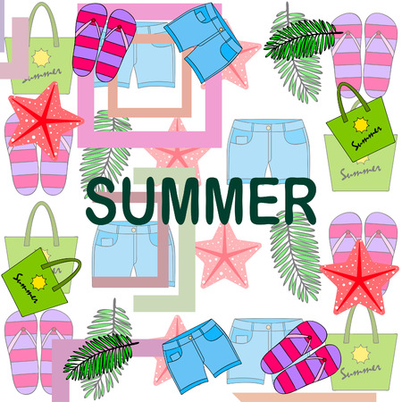 Vacances d'été. Sac de plage, chaussons, short, étoile de mer, drap tropical. Fond de vecteur