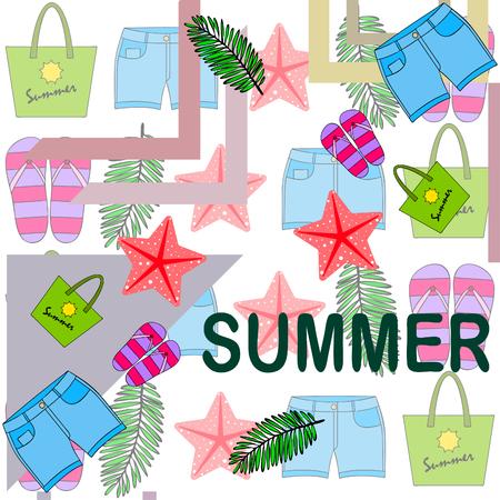 Summer vacation. Beach bag, slippers, shorts, starfish, tropical sheet. Vector background