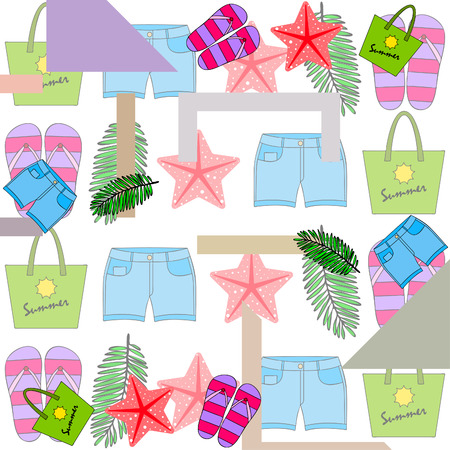 Summer vacation. Beach bag, slippers, shorts, starfish, tropical sheet. Vector background Ilustracje wektorowe