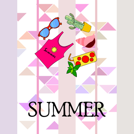 Summer card with cactus, sunglasses, seashell, cocktail, T-shirt. Vector background.