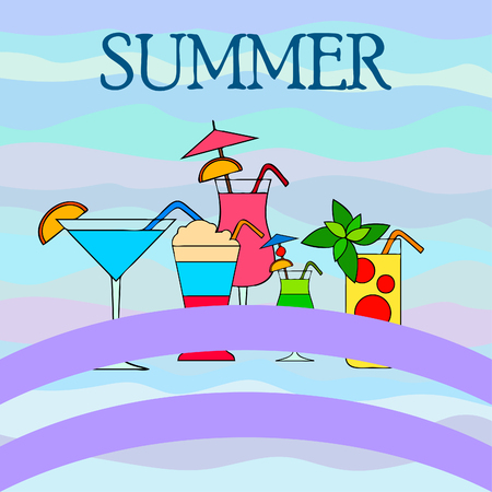 Summer card with cocktails. Beach holiday. Vector background.