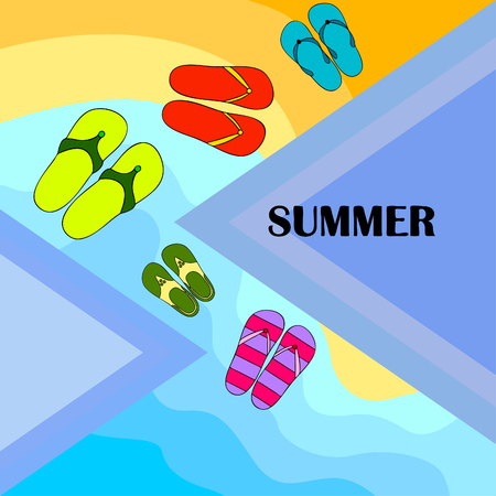 Vector set with cute and colorful summer slippers. Beach vacation. Vector background. Stockfoto - 123123224