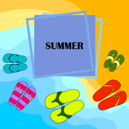 Vector set with cute and colorful summer slippers. Beach vacation. Vector background. Illusztráció