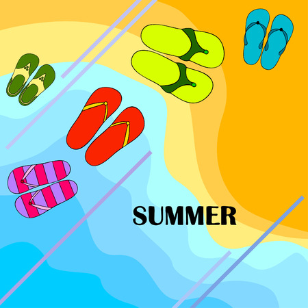 Vector set with cute and colorful summer slippers. Beach vacation. Vector background.  イラスト・ベクター素材